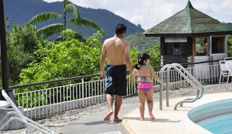 Taking a dip at the hotel pool despite the chilly mountain breeze of Banaue...